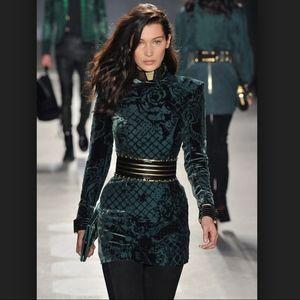 Balmain x h&m Collab Velvet Green Dress